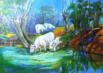 Peinture au couteau d'un paysage typique du Marias Poitevin.